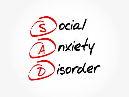 SAD - Social Anxiety Disorder, acronym concept