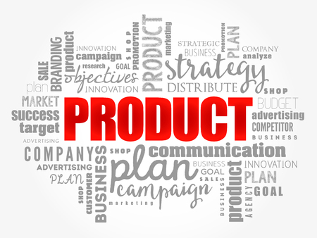 PRODUCT word cloud collage, business concept background Illustration
