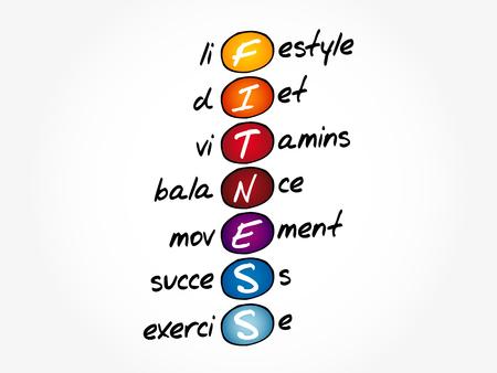 FITNESS - Lifestyle diet vitamins balance movement success exercise acronym, health concept background Ilustrace