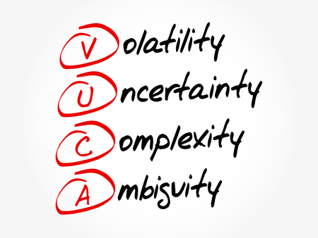 VUCA - Volatility, Uncertainty, Complexity, Ambiguity acronym, business concept background Vetores