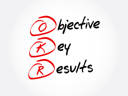 OKR - Acronyme des résultats clés objectifs, arrière-plan du concept d'entreprise
