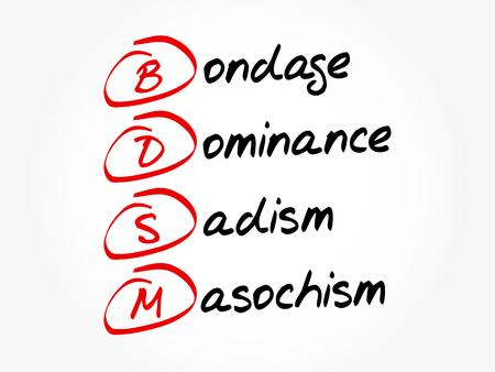 BDSM - Bondage, Dominance, Sadism, Masochism, acronym concept background
