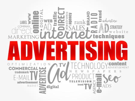 Nuage de mots publicitaires, arrière-plan concept d'entreprise Vecteurs