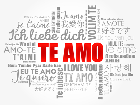 Te amo (I Love You in Spanish) in different languages of the world, word cloud background