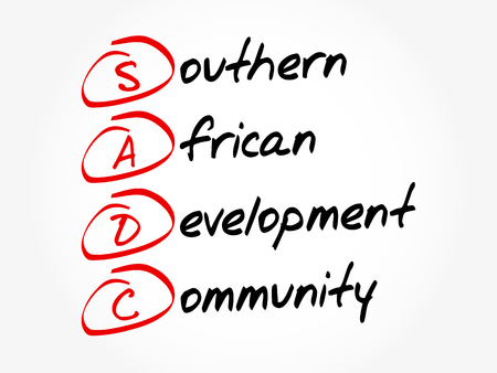 SADC - Southern African Development Community acronym, business concept background Ilustração