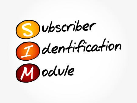 SIM - Subscriber Identification Module, acronym technology concept.