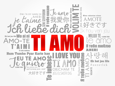 Ti amo (I Love You in Italian) in different languages of the world, word cloud background Illustration