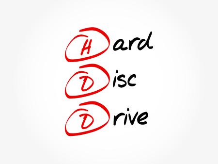 HDD - Hard Disc Drive acronym, technology concept background Illusztráció