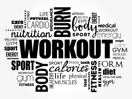 WORKOUT word cloud collage, fitness, health concept background Фото со стока