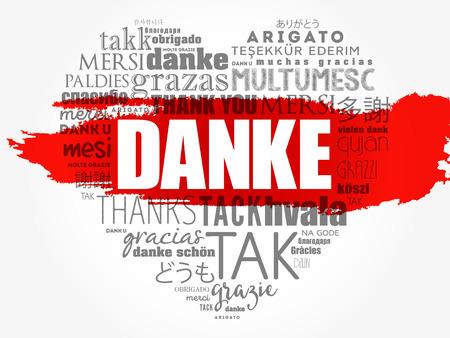 Danke (Danke auf Deutsch) Love Heart Word Cloud in verschiedenen Sprachen Vektorgrafik