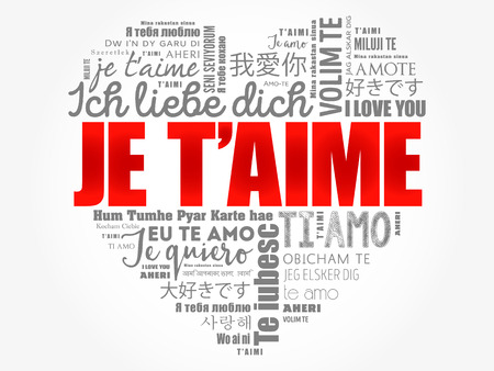 Je t'aime (I Love You in French) in different languages of the world, word cloud background Illusztráció