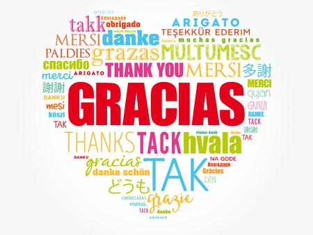 Gracias (Merci en espagnol) love heart Word Cloud dans différentes langues du monde Vecteurs
