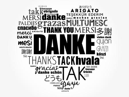 Danke (Gracias en alemán) Love Heart Word Cloud en diferentes idiomas