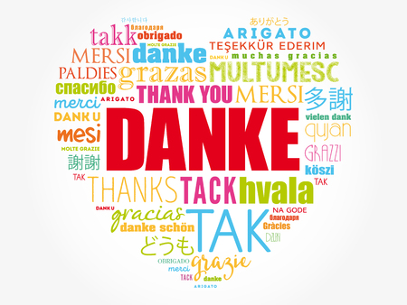 Danke (Thank You in German) Love Heart Word Cloud in different languages Illustration