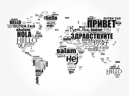 Hello in different languages word cloud in shape of World Map, business concept background
