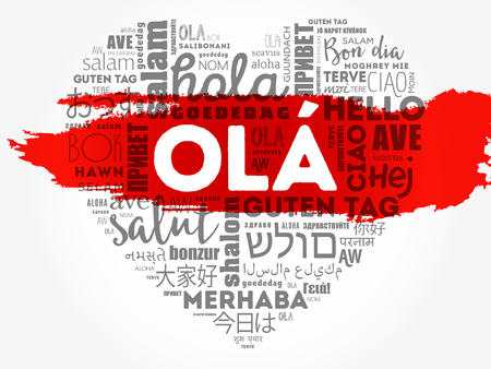 OLA (Hello Greeting in Portuguese) love heart word cloud in different languages of the world