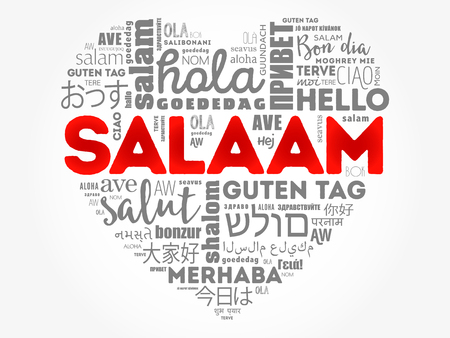 SALAAM (Hello Greeting in Persian,Farsi) love heart word cloud in different languages of the world