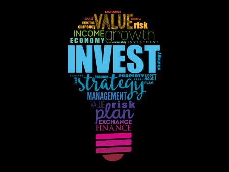 Invest light bulb word cloud, business concept background
