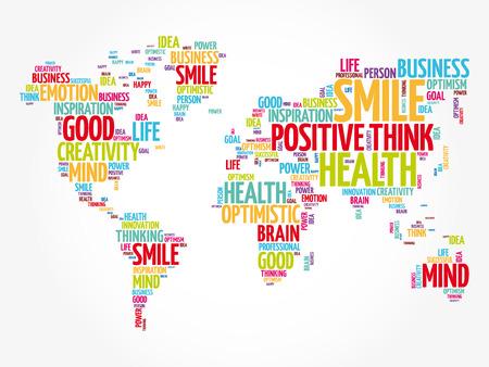 Nuage de mots de pensée positive en forme de carte du monde, fond de concept créatif Vecteurs