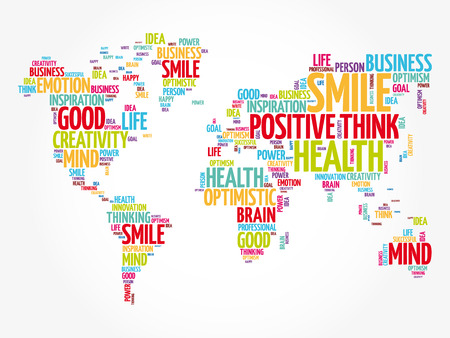 Positive thinking word cloud in shape of world map, creative concept background Vectores