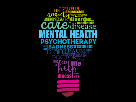 Mental health bulb word cloud, health concept background Vectores