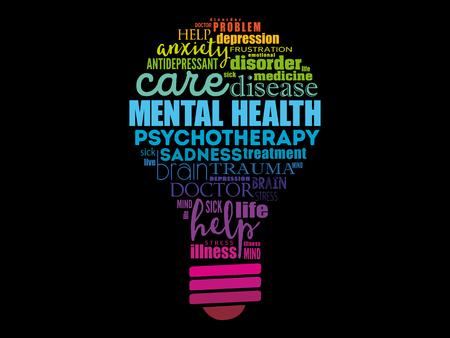 Mental health bulb word cloud, health concept background Illustration