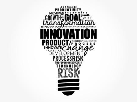 Nuage de mots d'ampoule d'innovation, fond de concept d'entreprise Vecteurs