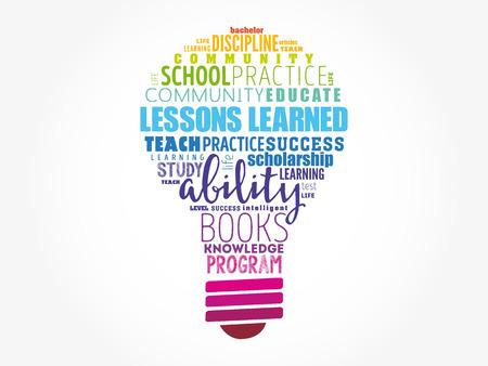 Nube de word de bombilla de lecciones aprendidas, fondo del concepto de educación Ilustración de vector