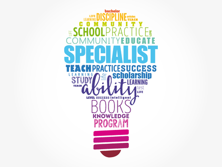 SPECIALIST light bulb word cloud collage, concept background