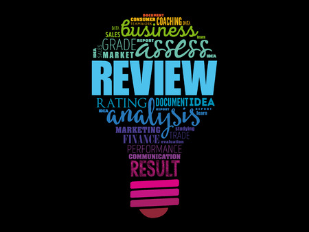 Review light bulb word cloud collage, business concept background