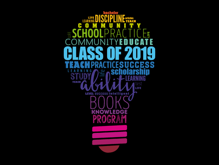 CLASS OF 2019 bulb word cloud collage, education concept background