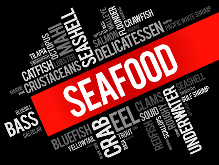 Seafood word cloud collage, food concept background Illustration