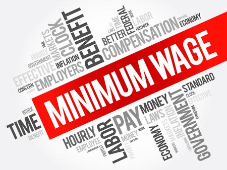 Mindestlohn-Wortwolkencollage, Geschäftskonzepthintergrund