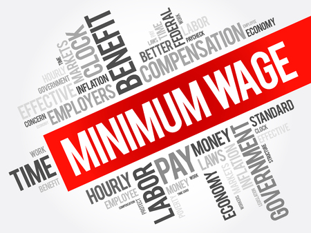 Minimum Wage word cloud collage, business concept background Illustration