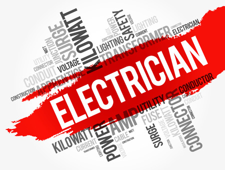 Electrician word cloud collage, concept background Ilustracje wektorowe