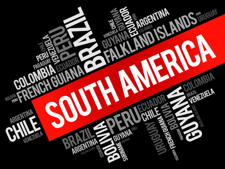 List of South American countries, word cloud collage, business and travel concept 向量圖像