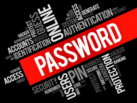 Password word cloud collage, technology business concept background