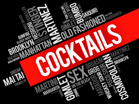 Most popular Cocktails word cloud collage, drinks concept background Stockfoto - 124400057