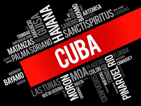 Lista de ciudades y pueblos de Cuba, collage de nube de palabras, antecedentes de concepto de viajes y negocios