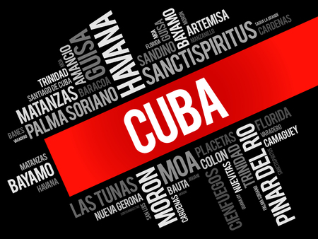List of cities and towns in Cuba, word cloud collage, business and travel concept background Illustration