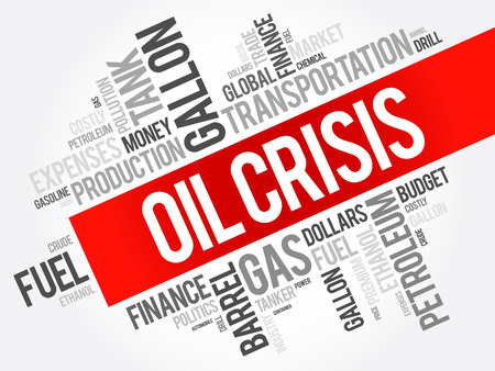 Oil crisis word cloud collage, business concept background Stock Illustratie