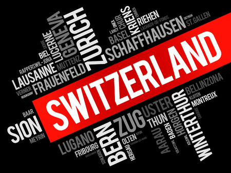 List of cities and towns in Switzerland, word cloud collage, business and travel concept background Vectores