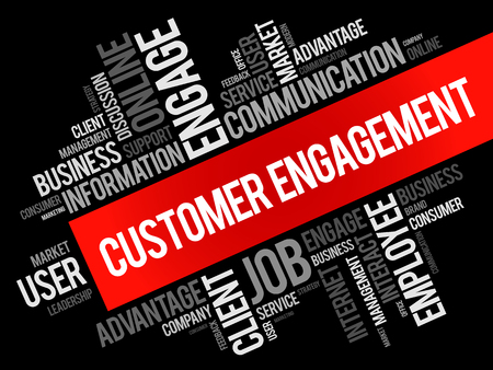 Customer engagement word cloud collage, business concept background