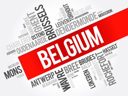 List of cities and towns in Belgium, word cloud collage, business and travel concept background