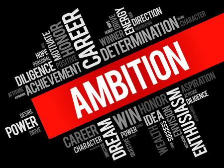Collage de nube de word de ambición, fondo del concepto de negocio Ilustración de vector