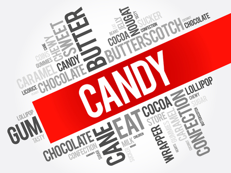 Candy word cloud collage, food concept background