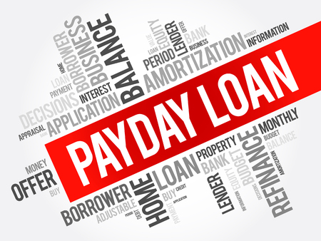 Payday Loan word cloud collage, business concept background