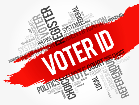 Voter ID word cloud collage , social concept background 일러스트