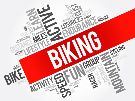 Biking word cloud collage, sport concept background