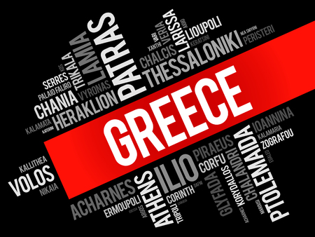 List of cities and towns in Greece, word cloud collage, business and travel concept background Stock Vector - 124400323